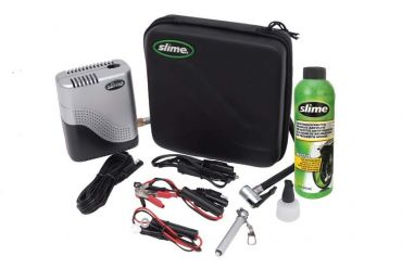 SLIME Moto Repair -sarja kompressorilla ja rengaspaikalla